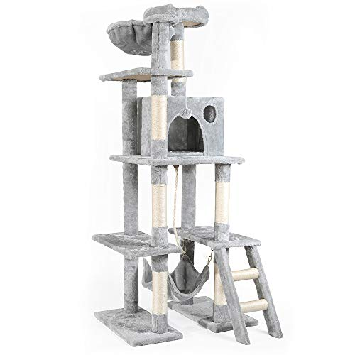 rabbitgoo Cat Tree Cat Tower 61-inch Multi-Level Kitten House Condo with Scratching Posts & Hammock,...