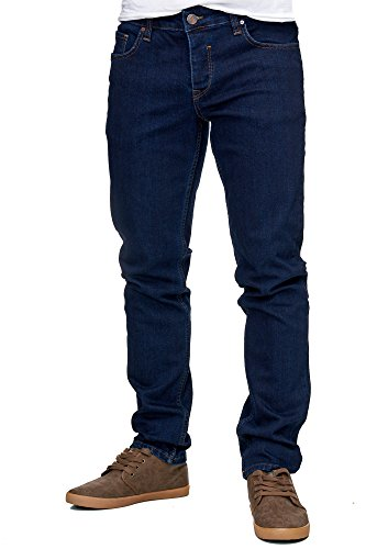 Reslad Jeans-Herren Slim Fit Basic Style Stretch-Denim Jeans-Hose RS-2063 Dunkelblau W36 / L32