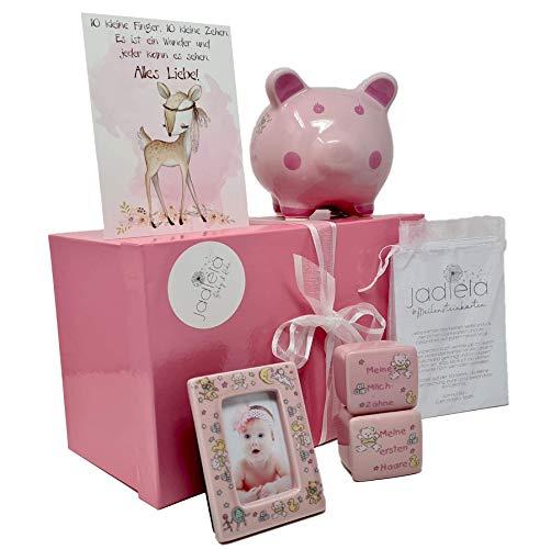 Jadiela Baby Taufgeschenke für Mädchen, Rosa Geschenkeset Taufe oder Geburt, Geschenke mit Meilensteinkarten