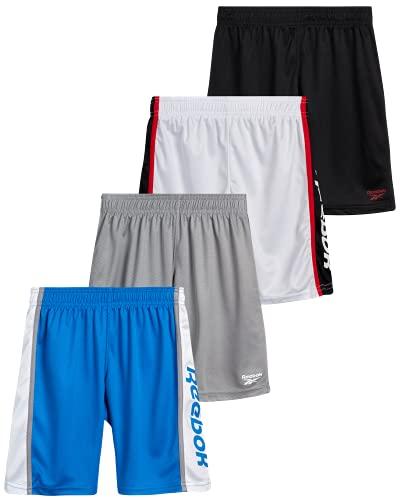 Reebok Boys' Athletic Shorts - Athletic Performance Basketball Shorts (4 Pack), Size X-Large, Black/Red/Shark/Royal