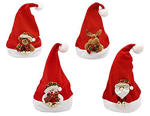Pack 4 Gorro de Navidad Sombrero de Patrón de Papá Noel Reno Monigote de Nieve Oso para Adultos y Niños