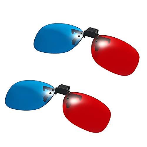 Aroncent 赤青 3 D メガネ サングラス クリップ 映画 ゲーム 2点セット HD コンピューター テレビ プロジェクター 携帯電話など適用