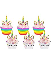 Unicorn Cupcake Toppers and Wrappers Double Sided Kids Party Cake Decorations Set of 24 Rainbow and Gold Glitter Decorations for Party,Birthday Cute Girl's Birthday Party Supplies