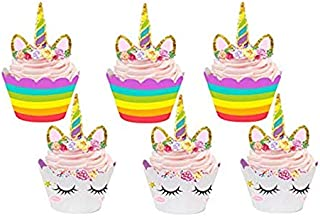 Unicorn Cupcake Toppers and Wrappers Double Sided Kids Party Cake Decorations Set of 24 Rainbow and Gold Glitter Decoratio...