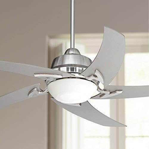 52' Capri Modern Contemporary Ceiling Fan with Light LED Remote Control Brushed Nickel Silver Blades White Opal Glass for House Bedroom Living Room Home Kitchen Dining Office - Casa Vieja