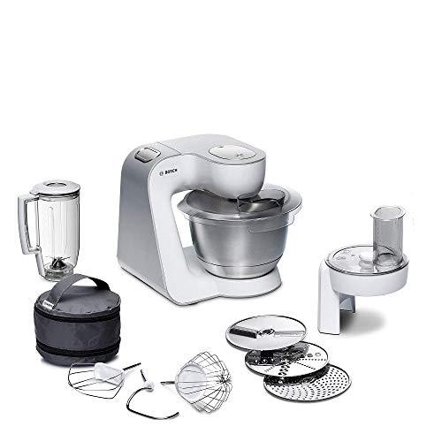 Bosch MUM5 CreationLine Küchenmaschine MUM58W20, vielseitig einsetzbar, große Edelstahl-Schüssel (3,9l), Mixer, Durchlaufschnitzler, 1000 W, weiß/silber