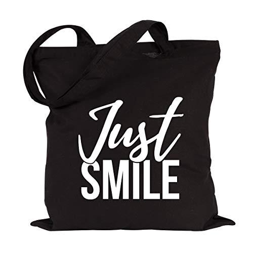JUNIWORDS Jutebeutel, Wähle ein Motiv & Farbe, Just Smile (Beutel: Schwarz, Text: Weiß)