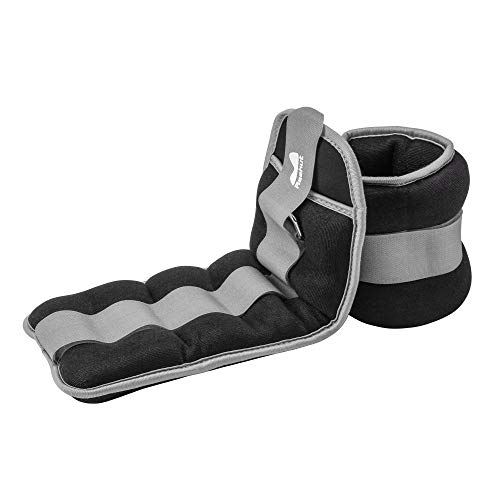 REEHUT Ankle/Wrist Weights (10 lbs Pair) with Adjustable Strap for Fitness, Exercise, Walking, Jogging, Gymnastics, Aerobics, Gym - Gray - 5 lbs Each