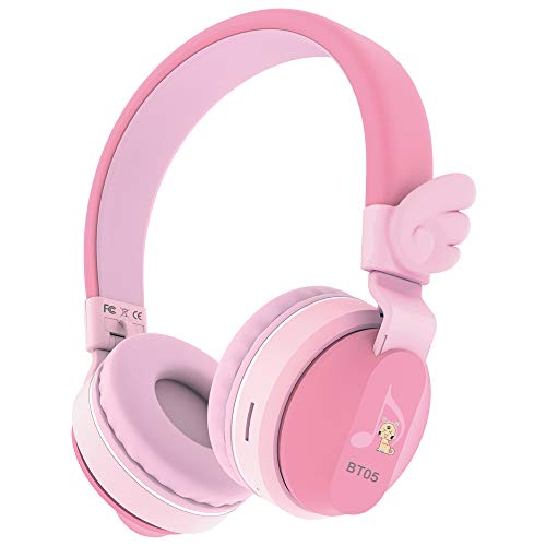 Riwbox BT05 Cuffie wireless Bluetooth per bambini, controllo del volume con limitazione a 85/103db, pieghevoli, con microfono e slot per card Tf, compatibile con iPad/iPhone/PC rosa