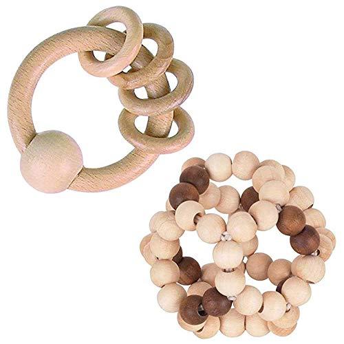 Heimess Holz Greifling mit 4 Ringen 12 cm, Natur & Holz Greifling Greifling Elastik Ball, Nature 7 cm // Holz // 2-TLG.-Set