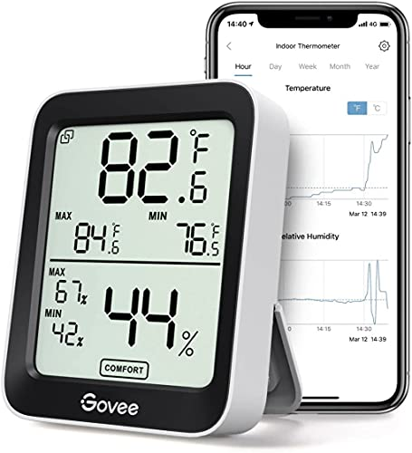 Govee Bluetooth Digital Hygrometer Indoor Thermometer, Room Humidity and Temperature Sensor Gauge with Remote App Monitoring, Large LCD Display, Notification Alerts, 2 Years Data Storage Export, Black