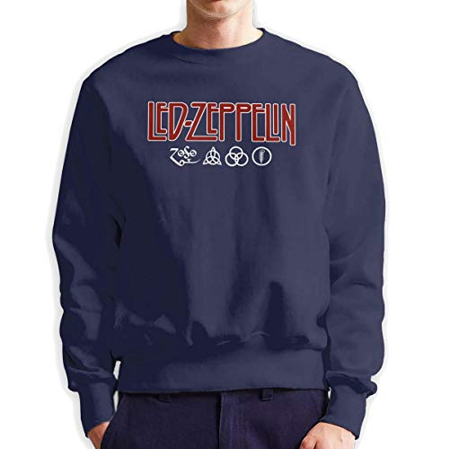 MYHL Men's Led Zeppelin Logo and Symbols Jimmy Page Official Fashionable Casual Style Crew Neck Cotton Sweatshirt Hoodie