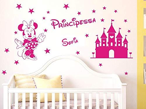 Adesivi Murali bambini nome personalizzato Minnie e castello magico con stelline Wall Stickers personalizzato cameretta bambina nome principessa,misure media e grande (medio:100x50cm)