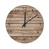 happygoluck1y Reloj de pared de madera con textura de tablones de madera, rústico, moderno, funciona con pilas, para sala de estar, dormitorio, niñas, oficina, decoración de pared