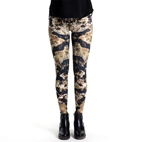 cosey Damen Bedruckte Bunte Leggings, Mamor Camouflage, Einheitsgröße