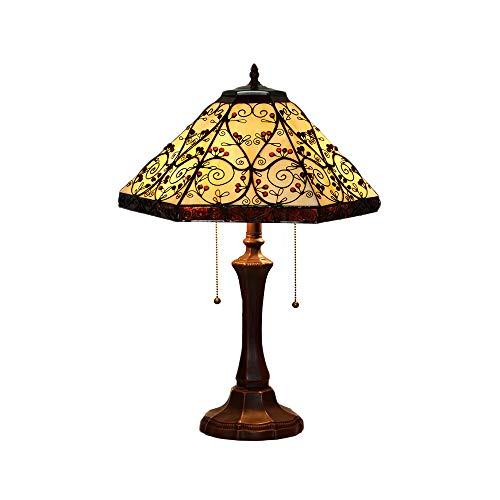 Retro Tiffany Tischlampe Vintage Glasmalerei Sechseck Tischlampen Zinklegierung Basis Nachttischlampen Nachtlichter für Schlafzimmer E27