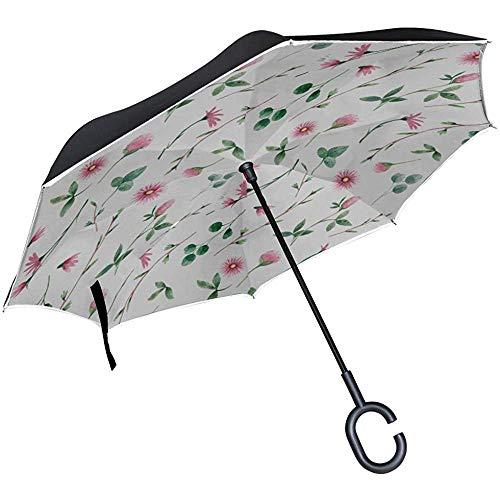 Alice Eva Paraguas invertido Sillas Plegables Paraguas Jardín de Primavera Flores Silvestres...