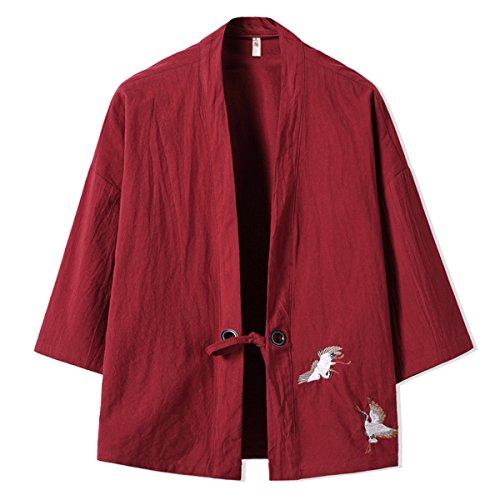 Mirecoo Haori - Chaqueta de kimono para hombre, cuello en V borgoña S