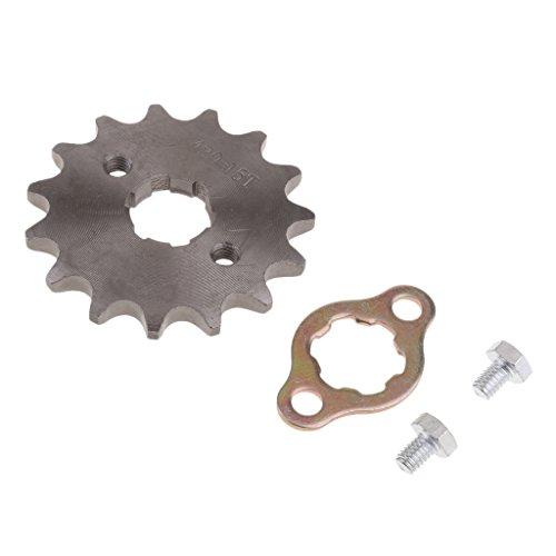 H HILABEE 420 Metall Kettenrad Vorderrad Kettenblätter für 110cc/ 125cc Dirt Bike, Φ 20mm/ 17mm Wahlbar - Schwarz, 420-15T-20mm