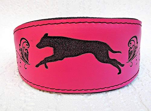 Lusy011 WINDHUND Galgo Halsband, Halsumfang 34-41cm, Leder + ROSA (312-705)