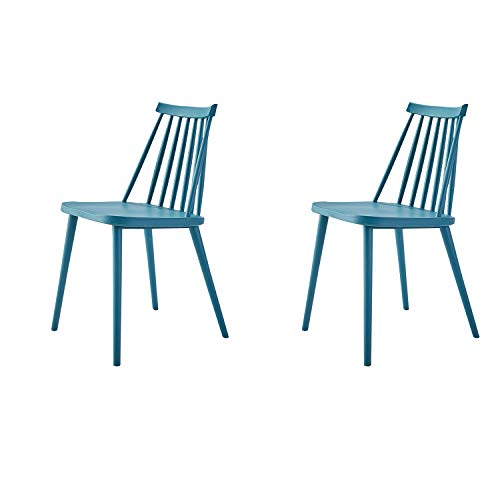 GroBKau 2 Stück Farmhouse Esszimmerstühle mit Spindellehne, armlos, Kunststoff, Windsor Stühle, modernes Design (blau)