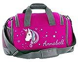 Mein Zwergenland Multi Sporttasche Kinder mit Schuhfach und Feuchtfach Sporttasche mit Namen Einhorn als Aufdruck Farbe Pink 41 L Stauraum die perfekte Sporttasche für Kinder