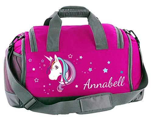 Mein Zwergenland Sporttasche Kinder mit Schuhfach und Nassfach Kindersporttasche 41L mit Namen personalisiert, Motiv Einhorn, in Pink