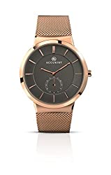 Rose gold tone stainless steel case and Milanese bracelet Grey dial with a remote second hand Water resistant up to 30m Japanese quartz movement 2 years manufactures guarantee