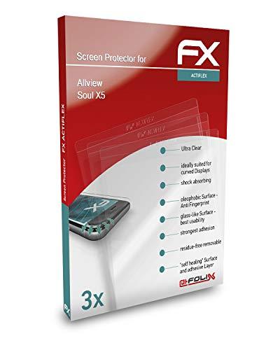 atFolix Schutzfolie kompatibel mit Allview Soul X5 Folie, ultraklare & Flexible FX Bildschirmschutzfolie (3X)