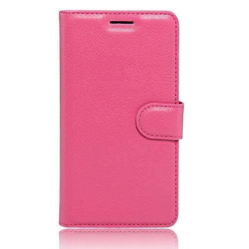 Sangrl Leder Lederhülle Schutzhülle Für LG K5, Wallet Tasche Für LG K5, mit Halterungsfunktion Kartenfächer Flip Hülle Rose Rouge