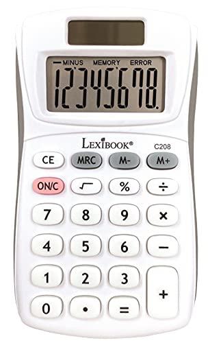 Calculadora de Bolsillo de 8 Dígitos - Función básica y de memoria - Teclas de silicona suave para oficina, escuela, hogar - Solar y baterías - Blanco/Gris - C208