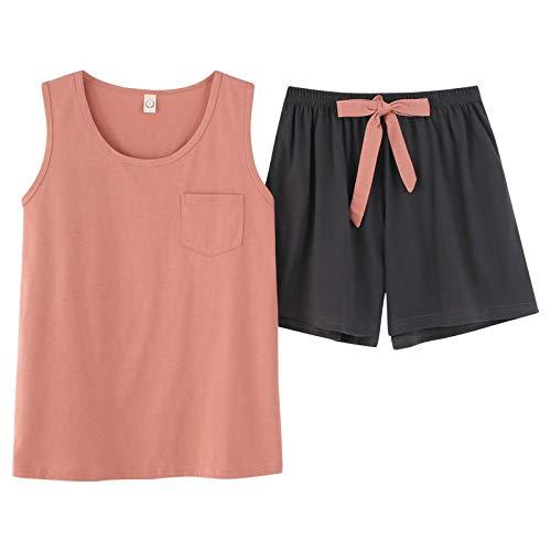 NKSS Summer Cotton Pajamas Set Girls T-Shirt And Shorts Sleepwear Casual Ladies Nightwear Homewear-1850_M