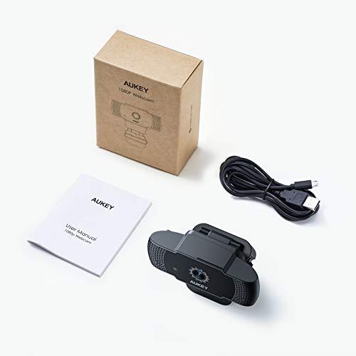 AUKEY Webcam 5 MP 1080p Full HD, Autofokus USB Web-Kamera mit Stereo-Mikrofon für Chat, Video und Aufnahme, kompatibel mit Windows, Mac und Android Desktop