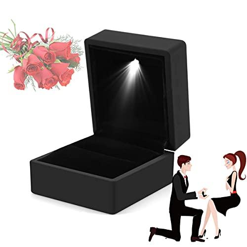 Caja para Anillo con luz LED de Compromiso Boda Proposición, LED Iluminado Ring Box para propuesta, Compromiso, Boda, Regalo,Negro