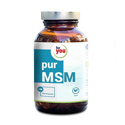 for you pur MSM I Nahrungsergänzungsmittel mit Methylsulfonylmethan I 180 vegane HPMC Kapseln für 3 Monate I 1000mg MSM je Tagesdosis I Gelenknährstoff I vitale Haare Haut und Nägel