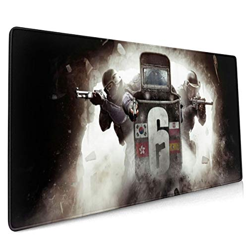 Large Gaming Rainbow Six Siege Mouse Pad Extended Non-Slip Mouse Mat Anime Mousepad for Keyboard Laptops 15.8 × 35.5in