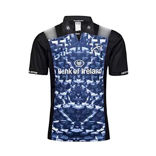 2017-18 Münster Stadt Weltcup Rugby Jersey, Rugby Kurzarm Away Pro Jersey, Herren Rugby Baumwolle Jersey Grafik T-Shirt, 100% Polyester Atmungsaktives Stoff Black-S