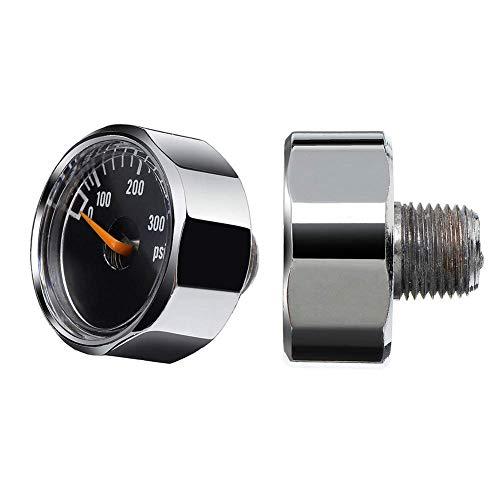 Mooyod 2 Unidades 25 mm 300 PSI Micro medidor de presión de Aire para HPA Marcador de Paintball CO2 Tanque PCP