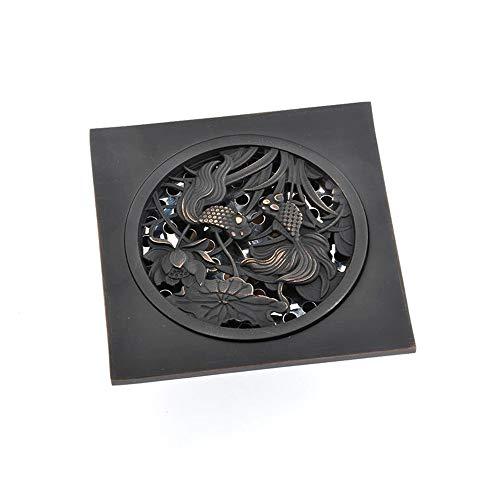 Vobajf Bodenablauf Bodenablauf Badezimmer Bodenablauf Großer Flow Control Anti-Wasser Deodorant Bodenablauf quadratische Dusche-Abfluss Anti-Verstopfungs Entwurf (Schwarz) Feste Duschköpfe
