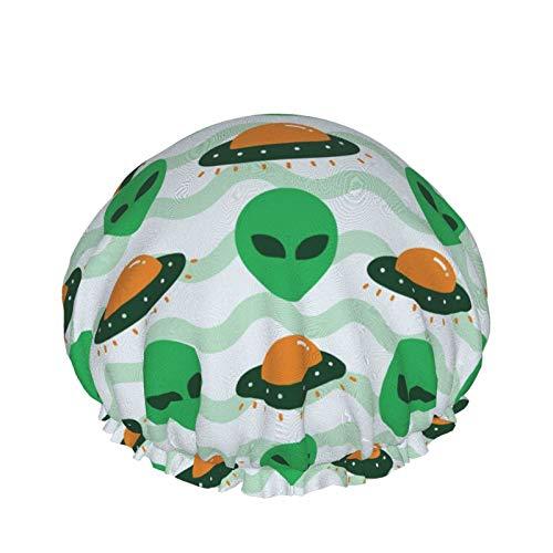 Gorro de ducha elástico impermeable de plástico, gorro de baño reutilizable para salón de belleza, nave espacial alienígena de invasión de ovnis