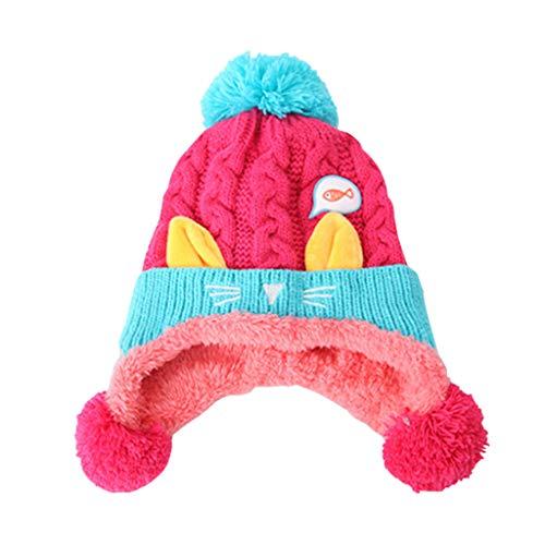 Gogokids Bebé Niños Niñas Gorras Invierno Sombreros de Pompón Crochet Punto
