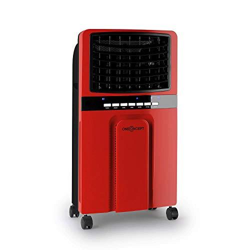 oneConcept Baltic - 3-in-1: Luftkühler, Ventilator, Luftbefeuchter, 65 Watt, Luftumwälzung: 360 m³/h, Tank: 6 Liter, 2 Kühlakkus, horizontale Oszillation, Timer, leise, rot-schwarz