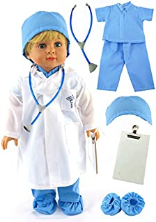 American Fashion World Blue Doctor Doll Medical Scrubs Made for 18-inch Dolls fits 18-inch American Dolls and More
