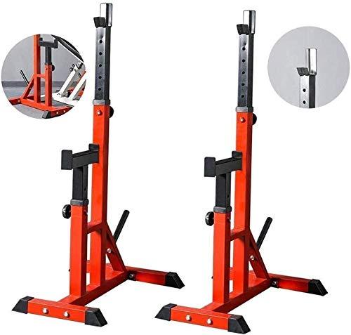 Suge Ajustable en cuclillas en rack Peso de elevación prensa de banco de jaula de sentadillas ajustable, entrenamiento de la fuerza de fitness con barra, en cuclillas en rack Soportes Barra libre de p