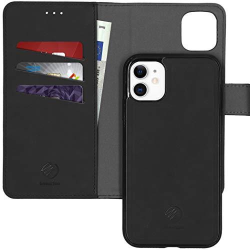 iMoshion Compatible con iPhone 11 – Funda plegable de lujo 2 en 1 – Funda con tapa trasera extraíble en negro [espacio para 3 tarjetas, cierre magnético]
