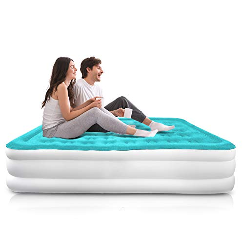 cozymood Queen Air Mattress with Electric Pump  Inflatable Airbed Queen Size  Elevated High Raised Air Mattress Flocked Top Double High Luxury Blow Up Mattresses 3Year Manufacturer Warranty…