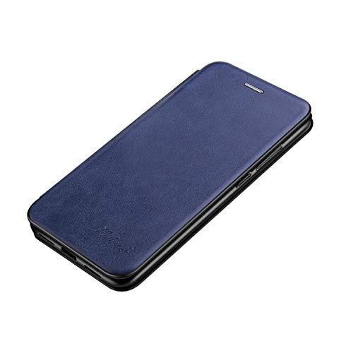 Suhctup Magnétique Flip Portefeuille Cuir Coque Compatible pour Huawei Mate 20 Housse avec 1 Fentes pour Credit et Porte-Cartes,Transparent TPU Bumper Antichoc Etui avec Fonction de Support(Bleu)