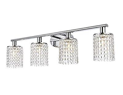 Luburs Crystal Vintage Wall lamp Bathroom Vanity Light Chrome Metal 4-Lights Wall Sconce with K9 Crystal Clear Shade,Modern Vanity Lighting Fixtures for Hallway Kitchen Living Room