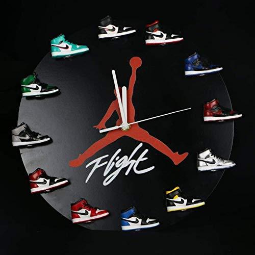 """12"""" Jordan Shoe Clock - Air Jordan 3D Sneaker Clock with 1-12 Mini Sneakers - Sneaker Clock with Silent Hand Movements - Air Jordan clock Gift for Sports Enthusiasts - 3D mini sneaker clock Wall Décor"""