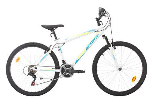 Bikesport Active Bicicletta Mountain Bike 26' Altezza Telaio: 48 cm, Shimano 18 cambios (Blu Rosso, XL)
